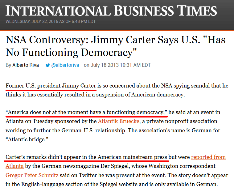 jimmy carter nsa controversy not reported
