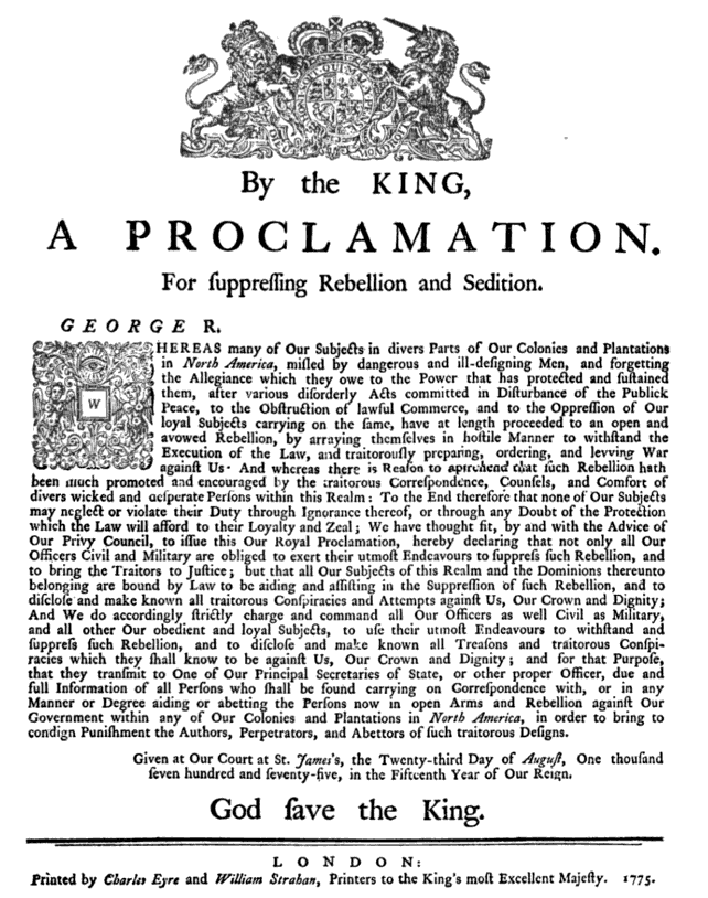 Kings Proclamation 1775 08 23