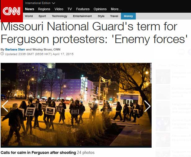 mo nat guard calls protesters enemy forces