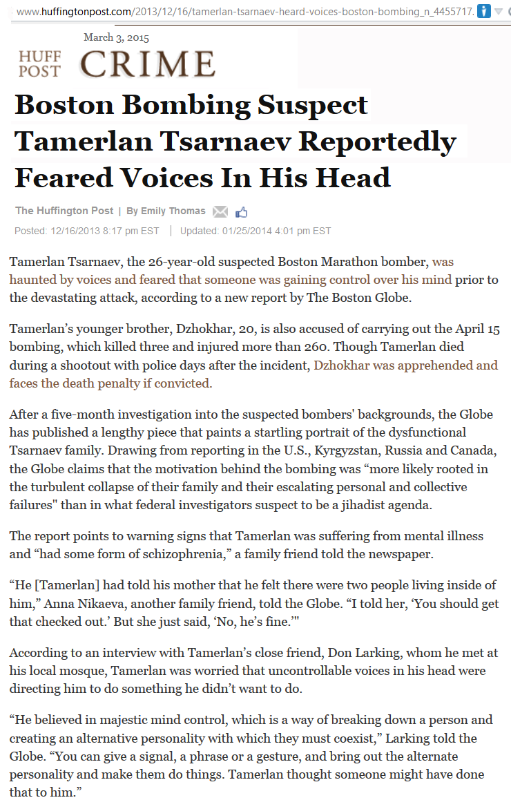 Boston bomber heard voices