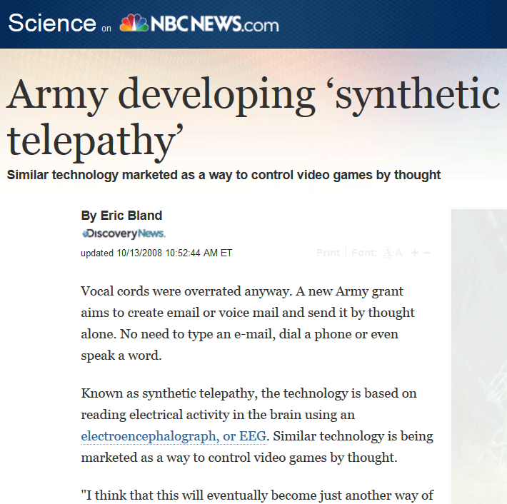 nbc army developing synthetic telepathy