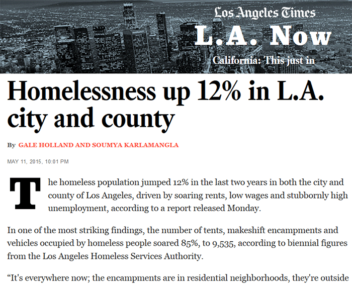 homelessness up 12 percent in l a county