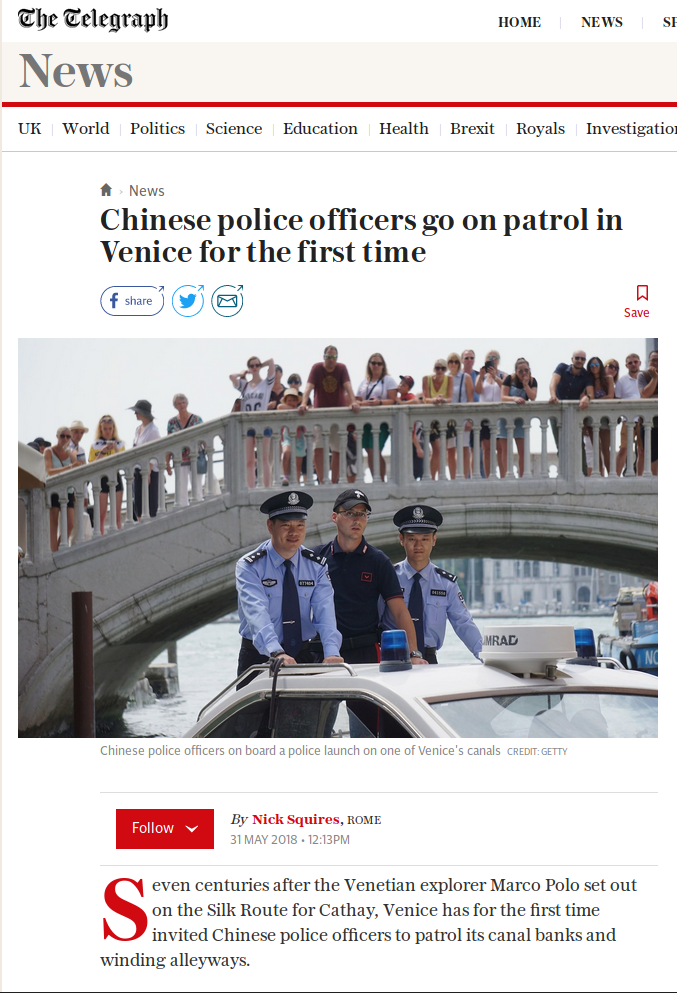 Chinese police patrol Venice, Italy