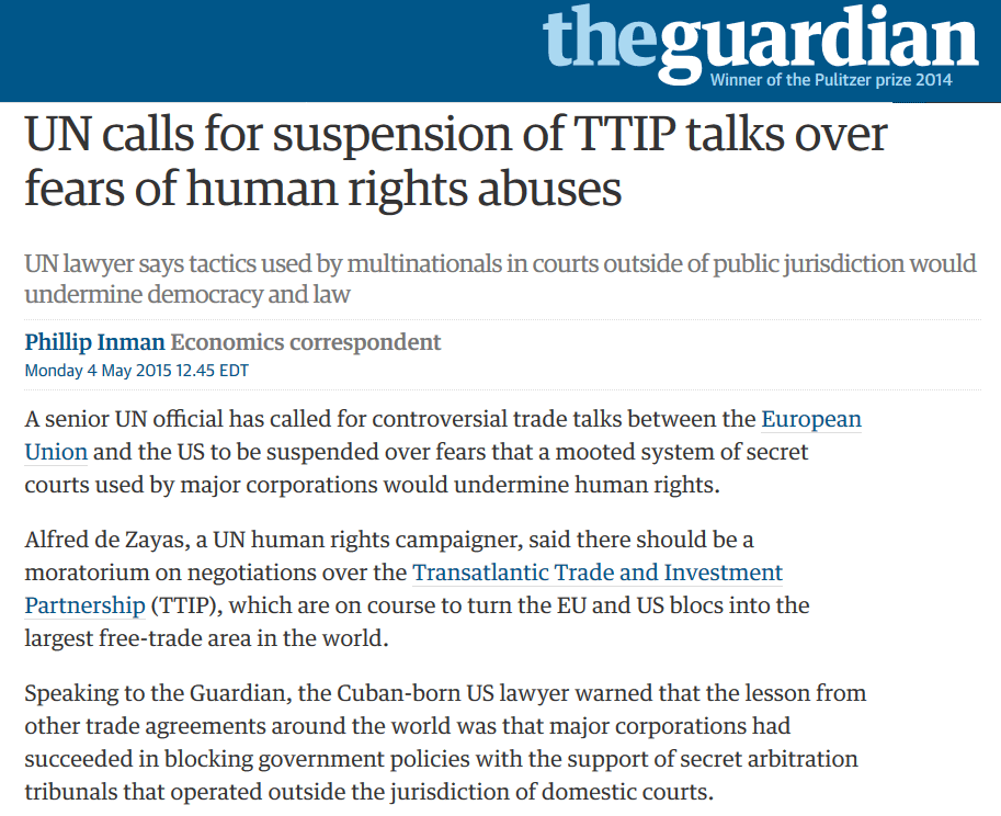 UN calls for suspension of TTIP talks