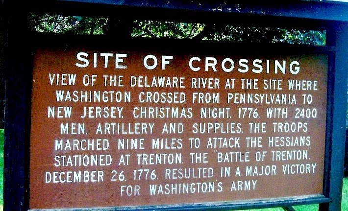 Marker at site of Washington's crossing of the Delaware, Christmas 1776