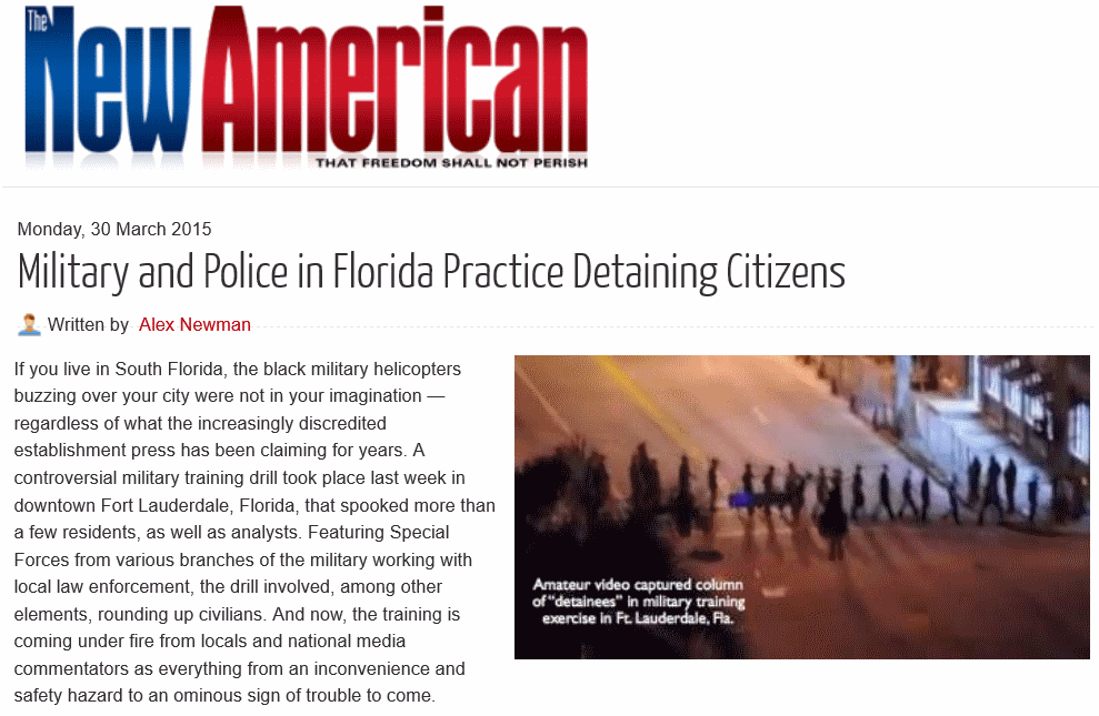 military and police in florida practice detaining citizens