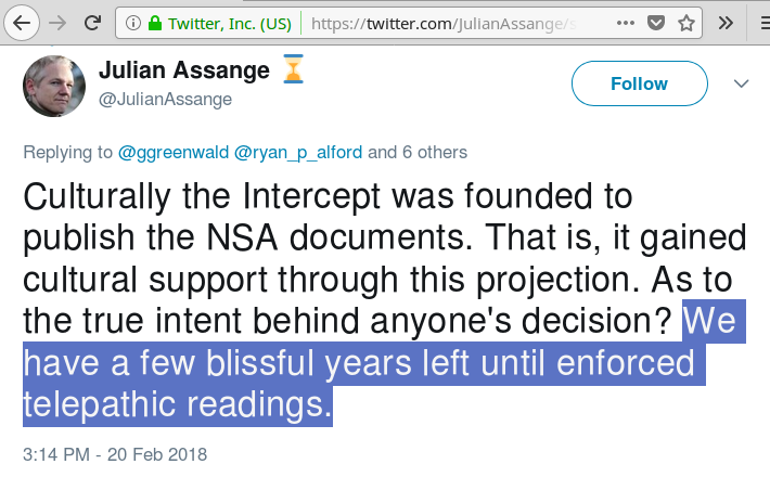 assange enforced telepathic readings