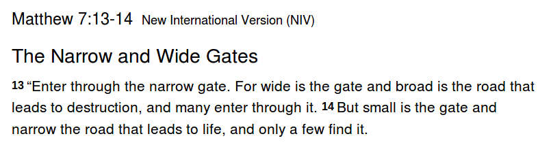 Matthew 7: The Narrow Gate