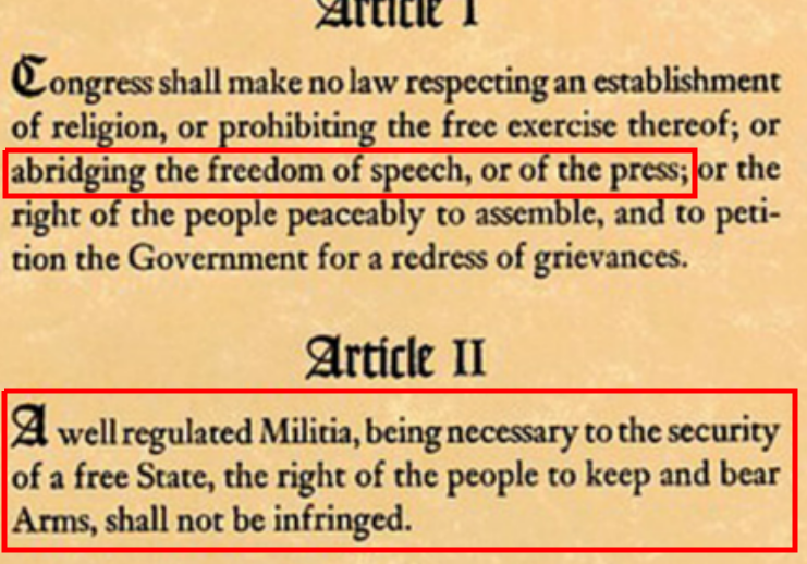 First two amendments to U.S. Constitution