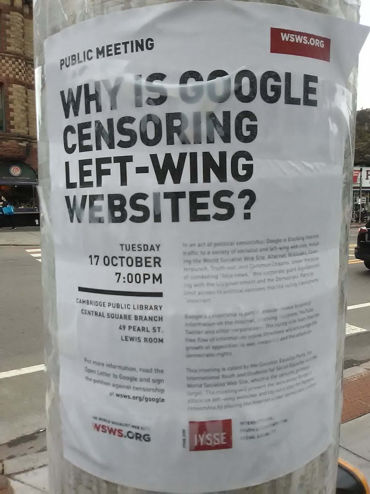 google censoring leftist websites