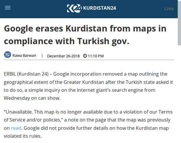 google erases kurdistan from maps