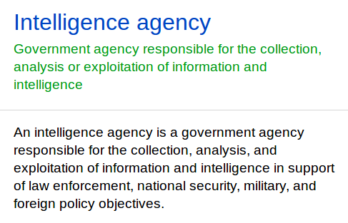 intelligence agency defined