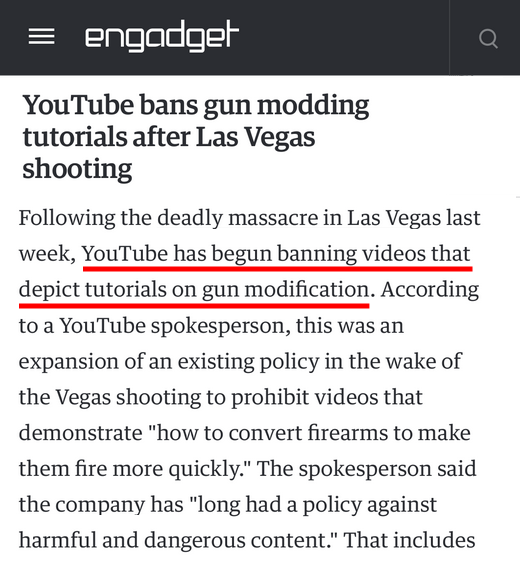 youtube gun censorship
