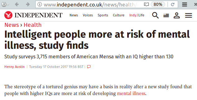 intelligent people at risk for mental illness