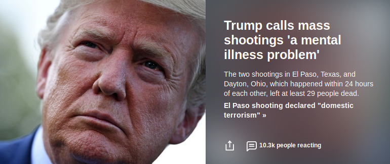 trump calls mass shootings mental illness